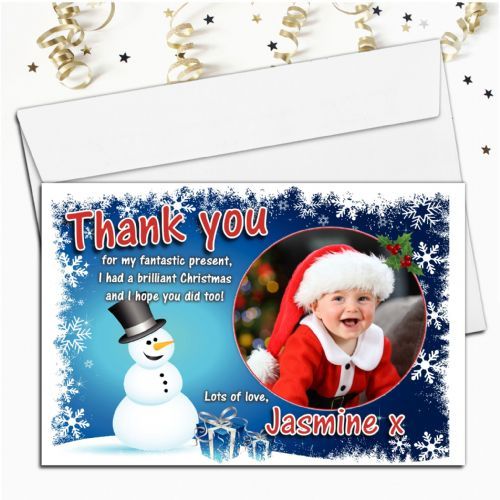 10 Personalised Christmas Xmas Snowman Thank you PHOTO Cards N6